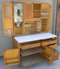 Oak Hoosier Style NAPANEE Cabinet w Flour Bin,10 pc. Glassware Set, 3 Pie Racks