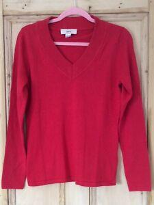 Heine @ Kaleidoscope Size 12 Red Knit Sweater JUMPER Top Winter Warm V Neck