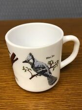 Vintage R Carmen Milk Glass Birds Mug Cardinal Woodpecker Blue Jay France