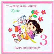 Personalised Handmade Dora the Explorer Style Birthday Card - Any Name/Age