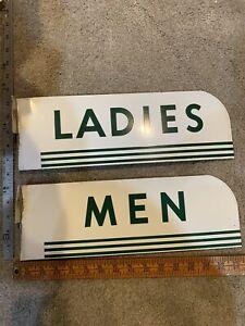 VINTAGE PORCELAIN DOUBLE SIDED 1950s MEN AND WOMEN RESTROOM FLANGED SIGN