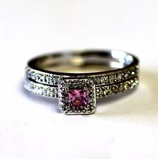 14k white gold .43ct diamond princess topaz engagement ring wedding band 6.2g