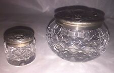 Vintage Waterford Crystal Silver Plated Pill Container Candy Jar Bowl w/ Lid