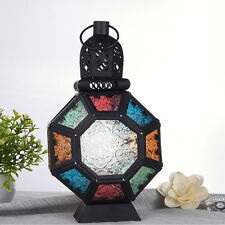 New Colorful Glass Moroccan Lantern Candle Holder Metal Hanging Lamp Home Decor