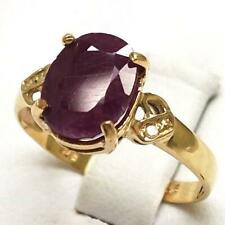 SYJEWELLERY NICE 9CT YELLOW GOLD OVAL RUBY & DIAMOND RING SIZE N R707