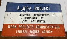 """ANTIQUE Metal WPA Federal Works PAINTED Sign Project Rare 30"""" x 18"""""""