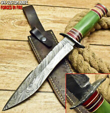 SFK CUTLERY RARE CUSTOM HANDMADE DAMASCUS ART HUNTING BOWIE KNIFE CAMEL BONE