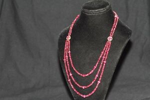 200+ Carats - Faceted Ruby Layering Strand Necklace 14K Gold - 3 Row - BEAUTIFUL