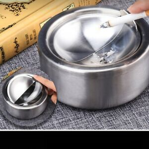 12cm Cigarette Lidded Ashtray Windproof Smoking Holder Stainless Steel with Lid