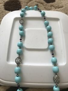 Vintage Turquoise Blue Bead Necklace