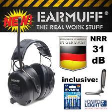"""BLACK"" Digital 31dB Radio Gehörschutz Kopfhörer  ""EARMUFF"" mit MP3 Anschluss"
