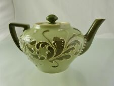 GREEN GESSO FAIENCE BACHELOR TEA POT BY J MACINTYRE & CO MOORCROFT DESIGNER