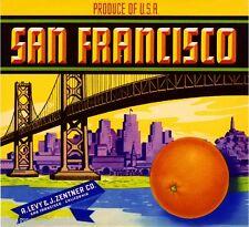 San Francisco California Orange Citrus Fruit Crate Box Label Art Print
