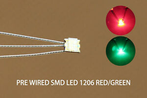 DT1206RG 20pcs Pre-soldered litz wired leads Bi-color RED/GREEN SMD Led 1206 NEW