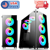 Gaming Computer PC Case ATX Mid Tower With Transparent Glass Windows 3.0 USB