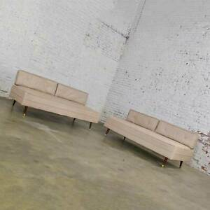 MCM White Vinyl Faux Silk Look Daybeds or Convertible Sofas or Sectional, a Pair