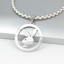 Silver Chrome Round Playboy Bunny Rabbit Pendant Braided White Leather Necklace
