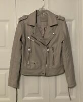 NWOT Blank NYC Women's Gray Vegan Faux Leather Moto Jacket - Rare - Size S Small