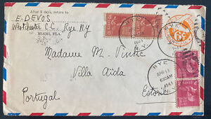 1941 Rye NY USA Airmail cover To Storil Portugal