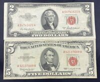 US Paper Currency Red Seal Collection $5 Dollar Red Seal & $2 Dollar Red Seal