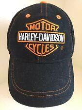 HARLEY DAVIDSON Black Orange hat baseball cap Adjustable strap 100% COTTON 4-7