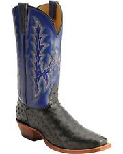 NOCONA Men's Genuine Black Ostrich Blue Leather Western Square Toe Boots MD7501