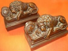 "Antique Book Ends ""LION's of LUCERNE"" Cast Metal Pair with Bronze Coating"