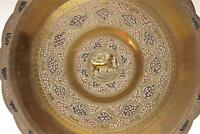 Antique Indian / Persian Hand Crafted,  Brass Plate   TRAY WITH ENGRAVING 4
