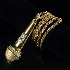 "Men's Hip Hop Gold Plated Crystal Microphone Pendant 30"" Chain Necklace Jewelry"