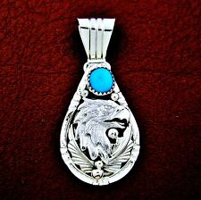 Sterling Silver Turquoise Eagle Head Pendant  Native American Made --- P29 T
