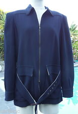 JEAN-PAUL GAULTIER FEMME GORGEOUS BLACK  BELTED JACKET WITH YELLOW LINING SZ 42