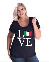 Love Italy  Women Curvy Plus Size Scoopneck Tee