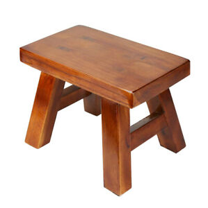 """Wood Step Stool Ottoman Plant Stand Bedside Foot Stool 7.5"""" For Kids Adult"""