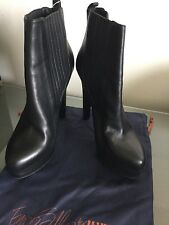 LE SILLA woman's boots leather black  platform ankle 40.5/10.5 wedge heel