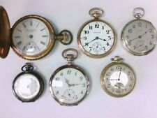 6 Antique Sterling/GF Elgin, Mardon, Howard, Marvel, Hamilton, ST Pocket Watches
