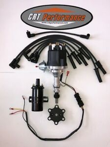 small cap FORD INLINE 6 170 200 250 HEI Distributor + 45K Can Coil + PLUG WIRES