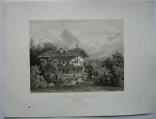 Bauernhaus bei Zell Zillertal Tirol Österreich Orig Aquatinta-Radierung 1840