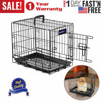 """Pet Kennel Cat Dog Folding Crate Metal Puppy Cage 2 Doors 42"""" 36"""" 30"""" 24"""" 18''"""