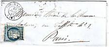 25 c Ceres N° 4 obl GRILLE cachet 15 de Ste MAURE Indre et LOIRE , lettre 1851
