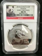 2014 1oz Silver Chinese Panda, China PRC 10 Yuan, NGC MS 70 Early Releases PANDA