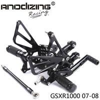 Full CNC aluminum Motorcycle Rearsets Rear Set For SUZUKI GSXR1000 2007-2008