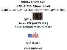United Chemi-Con 820uF 25V QTY: 4 Aluminum Electrolytic Radial Capacitors 105c