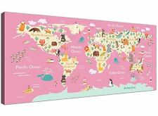 Animal Map of The World Atlas Canvas for Girls Nursery or Bedroom 120cm Wide