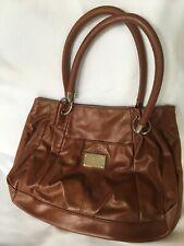 Nine West Women's Purse Brown Faux Leather Handbag Magnetic Snap Closure Tote