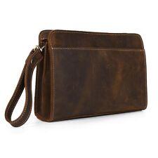hommes cuir embrayage gros portefeuille Zip Around Clutch wristlet iPhone case
