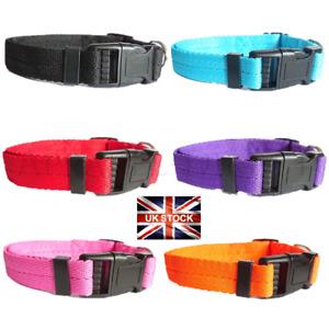 Dog Puppy Collar Nylon Adjustable Collars 4 sizes 6 colours UK Pet Accessories