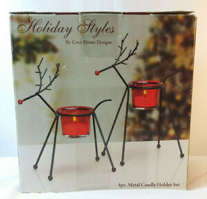 Cozy Home Design Holiday Style 4 Piece Metal Reindeer Candle Holder Set