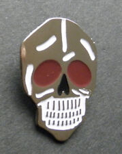 Skull Biker Lapel Pin Silver Color with Burgundy Eyes 1 inch