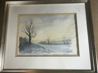 """Vintage """"Road And Landscape Scene"""" Watercolor Painting - Signed And Framed"""