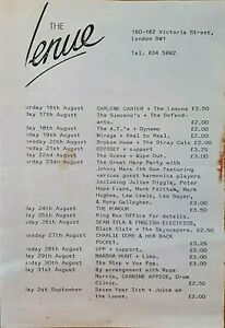 The Venue - August 1980 Flyer Marsha Hunt Rory Gallagher Carlene Carter etc.